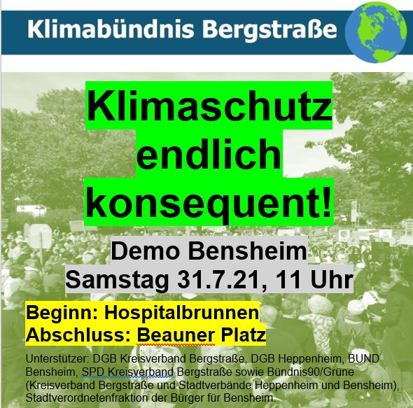 Aufruf zur Klima-Demo in Bensheim: Klimaschutz endlich konsequent!